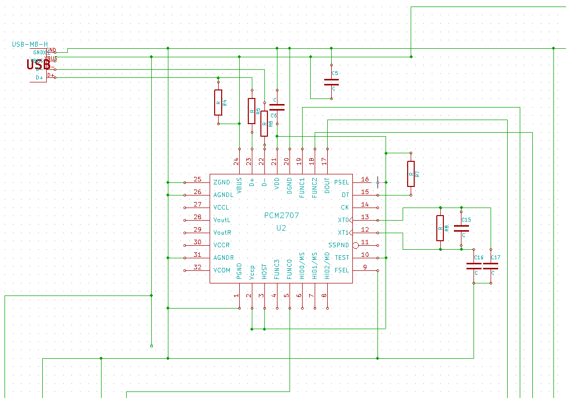 Jedac Yet Another Take On A Diy High End Usb Audio Dac Wiring Diagram Circuit Board Schematics Mini Section With Pcm2707 I Realize The Could Be Fed 33v Externally And That An Idea Since It Is Already Generated Onboard